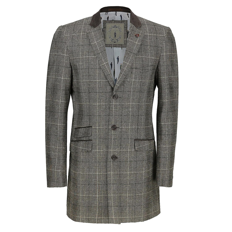 Mens Vintage Wool Mix 3/4 Long Brown Herringbone Tweed Check Over Coat Smart Formal Winter Jacket