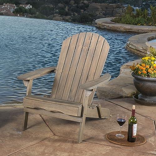 Milan Outdoor Rustic Acacia Wood Folding Adirondack Chair