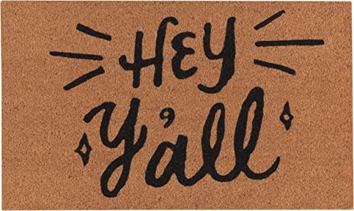 Now Designs Natural Fiber Printed Doormat, Hey Y all – 18 x 30 in Vinyl-Backed