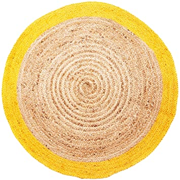 Amazon De Handgewebter Runder Jute Teppich 120 Cm Gross Luna Natur