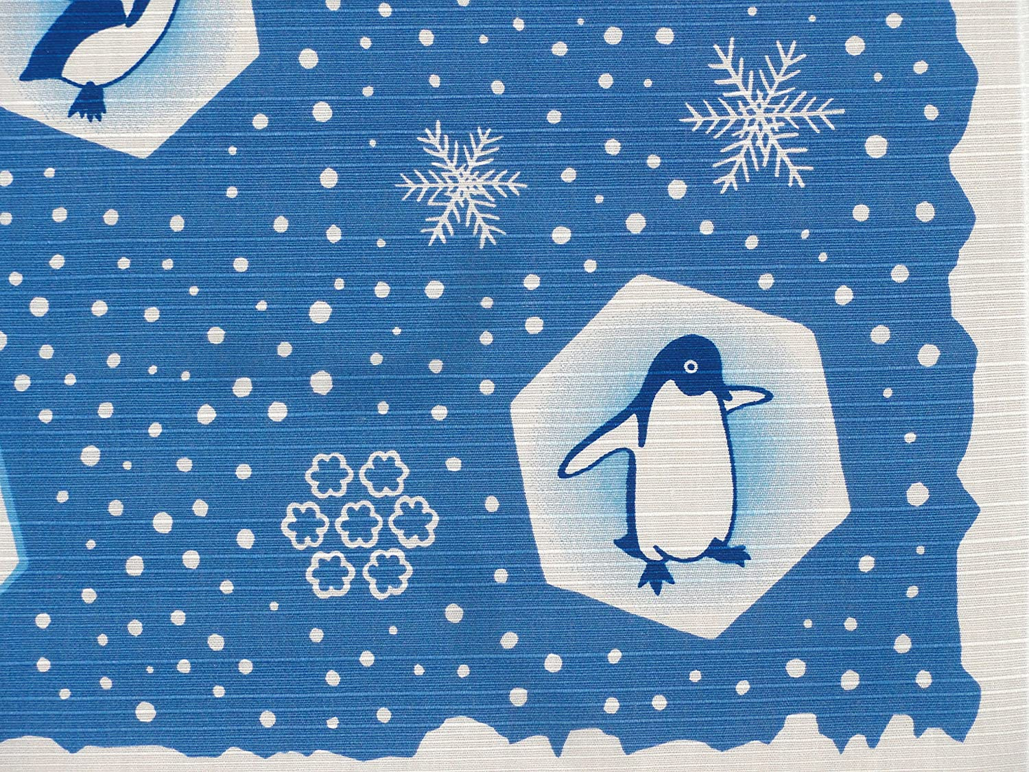 Furoshiki Wrapping Cloth Penguins and Snowflakes Motif Japanese Fabric 50cm