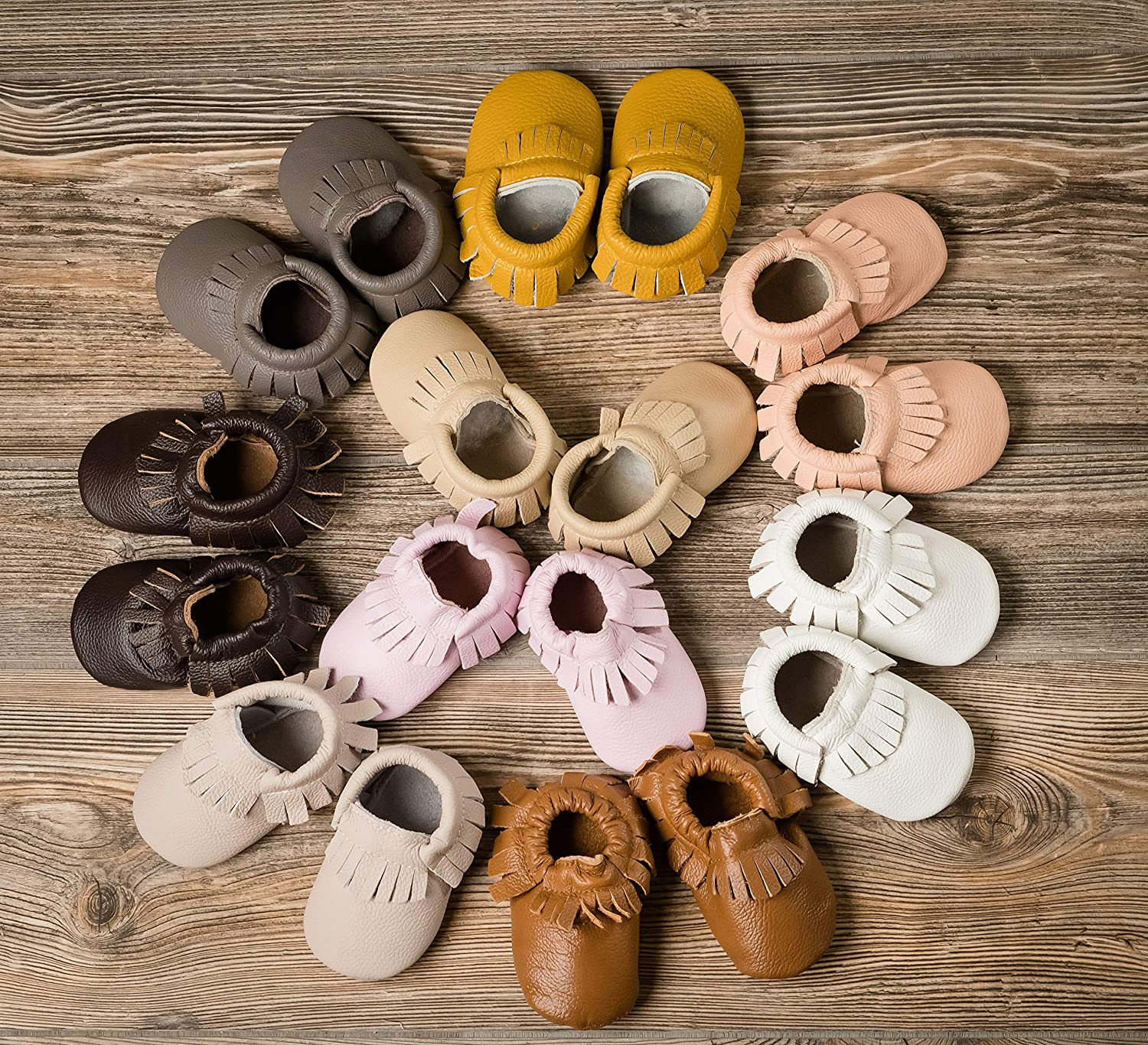 | Boys Girls Soft Sole Shoes with Rubber Bottom for Infants POSHBERRY Baby Moccasins Vegetable Tanned Leather Quality Moccasins Select Colors Babies Toddlers