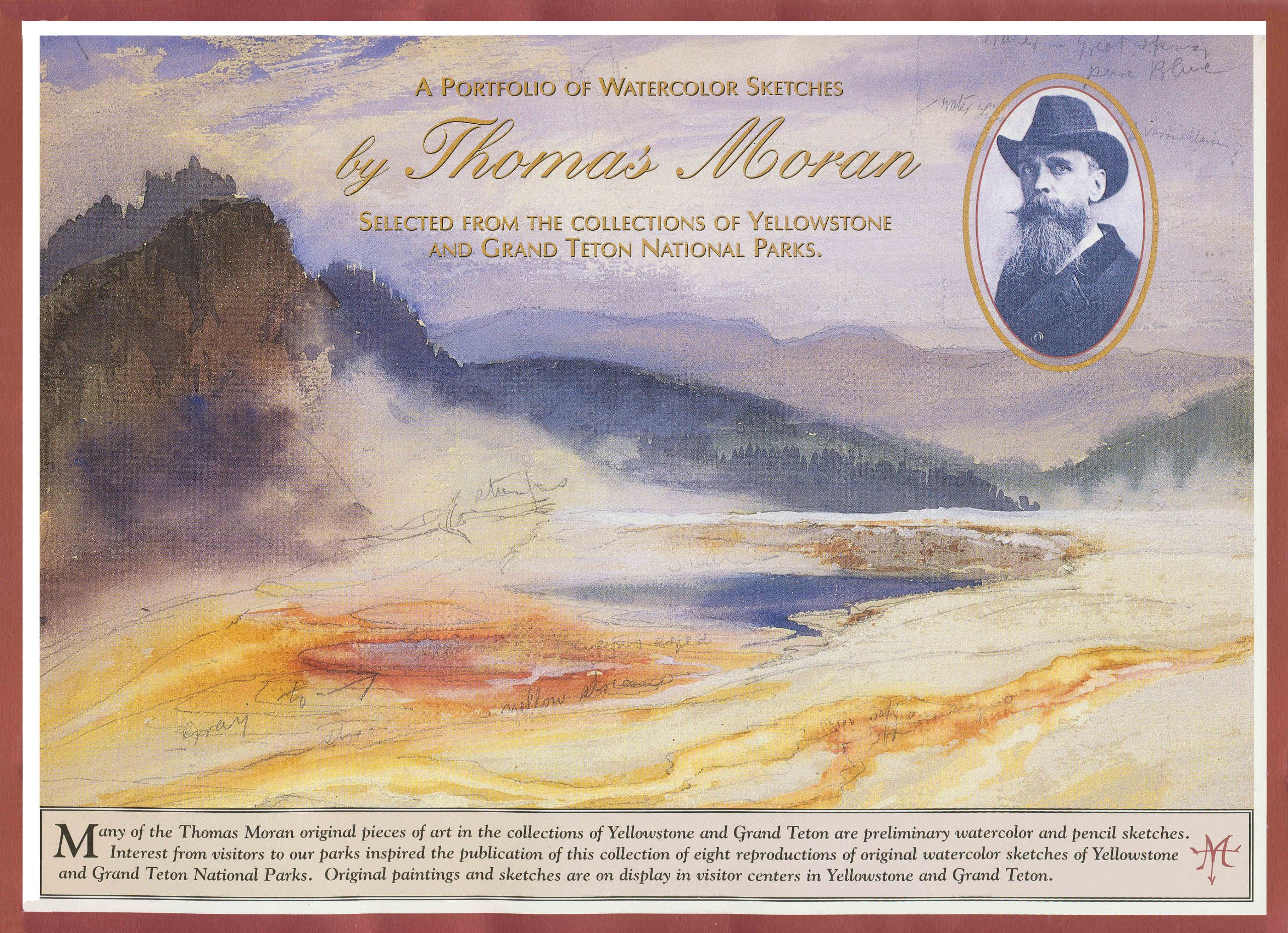 a portfolio of watercolor sketches by thomas moran selected from the collections of yellowstone and grand teton national parks