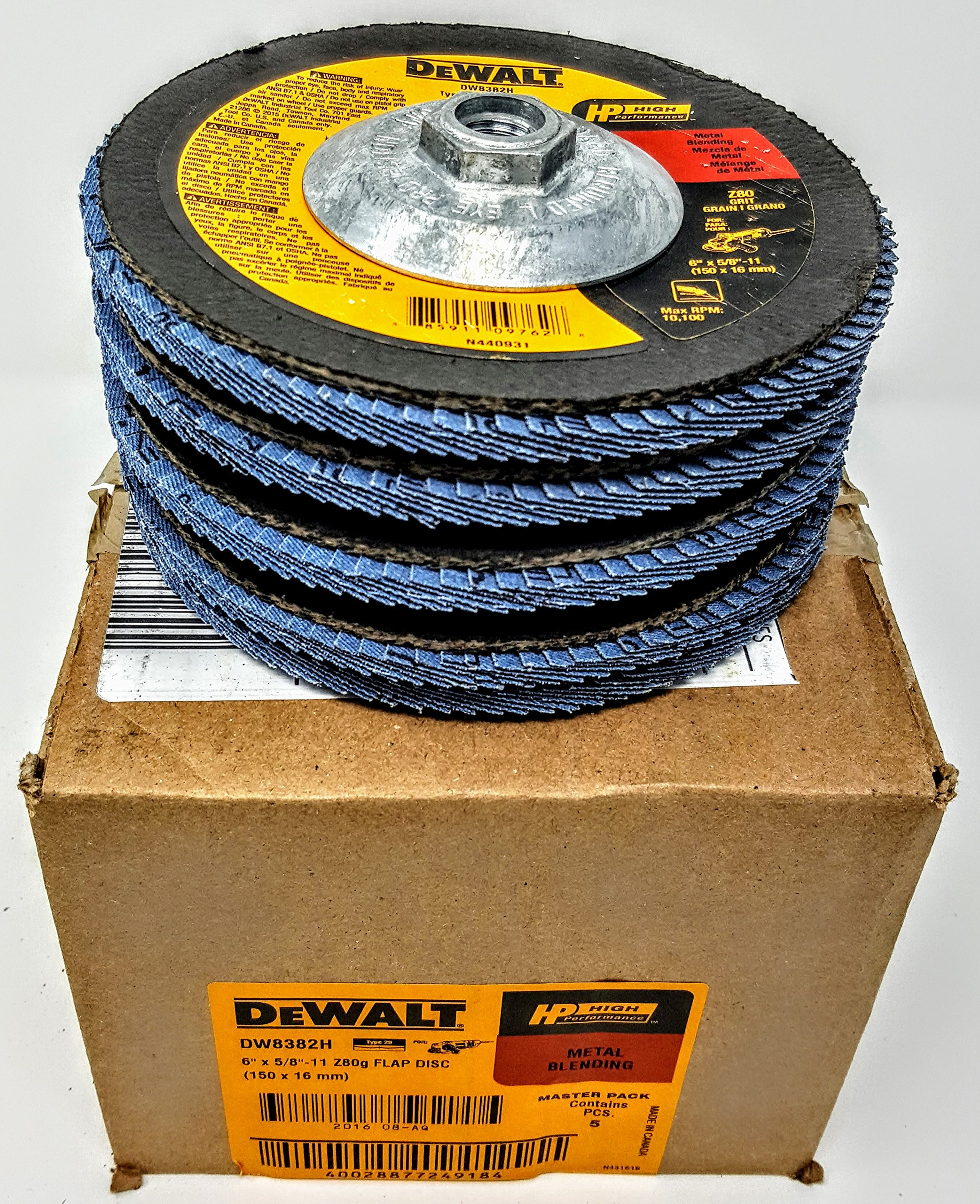 (Box of 5) Dewalt DW8382H 6''x 5/8''-11 Hub Z80 grit T29 High Performance Flap Discs