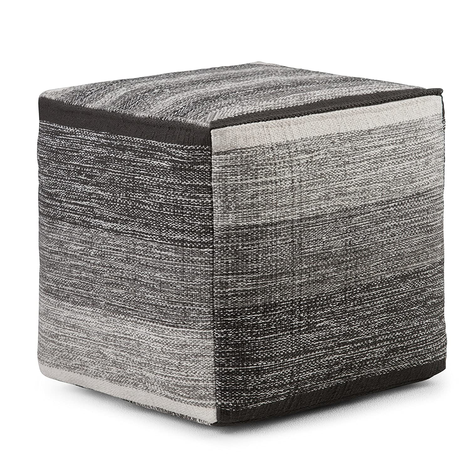 Simpli Home Naya Cube Pouf, Patterned Grey Melange Ltd. AXCPF-05
