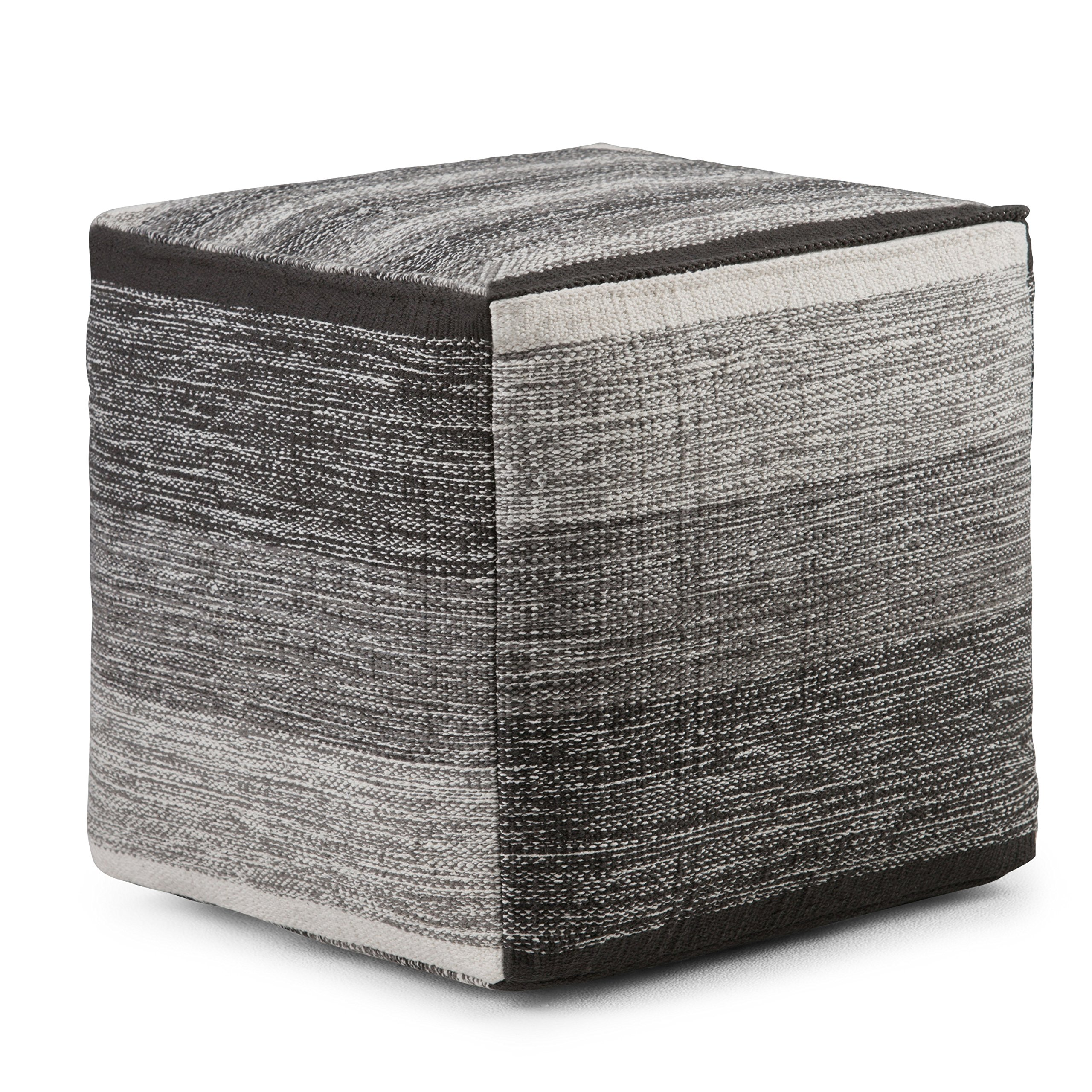Simpli Home Naya Cube Pouf, Patterned Grey Melange