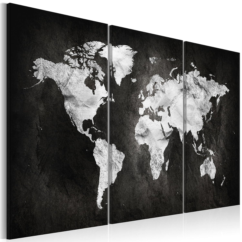 decomonkey Akustikbild Weltkarte schwarz 135x90 cm 3 Teilig Bilder Leinwandbilder Wandbilder XXL Schallschlucker Schallschutz Akustikdämmung Wandbild Deko leise grau Welt Karte Kontinente Landkarte