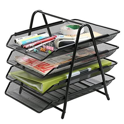 Superbe 4 Tier Metal Office Desktop File And Document Organizer Trays, Magazine Holder  Rack,