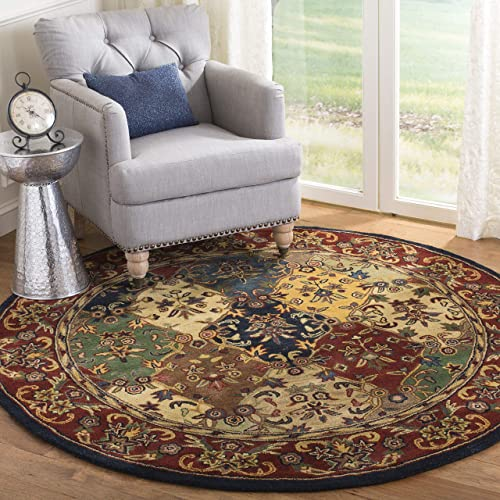 Safavieh Heritage Collection HG911A Handmade Traditional Oriental Multi and Burgundy Wool Round Area Rug 10 Diameter