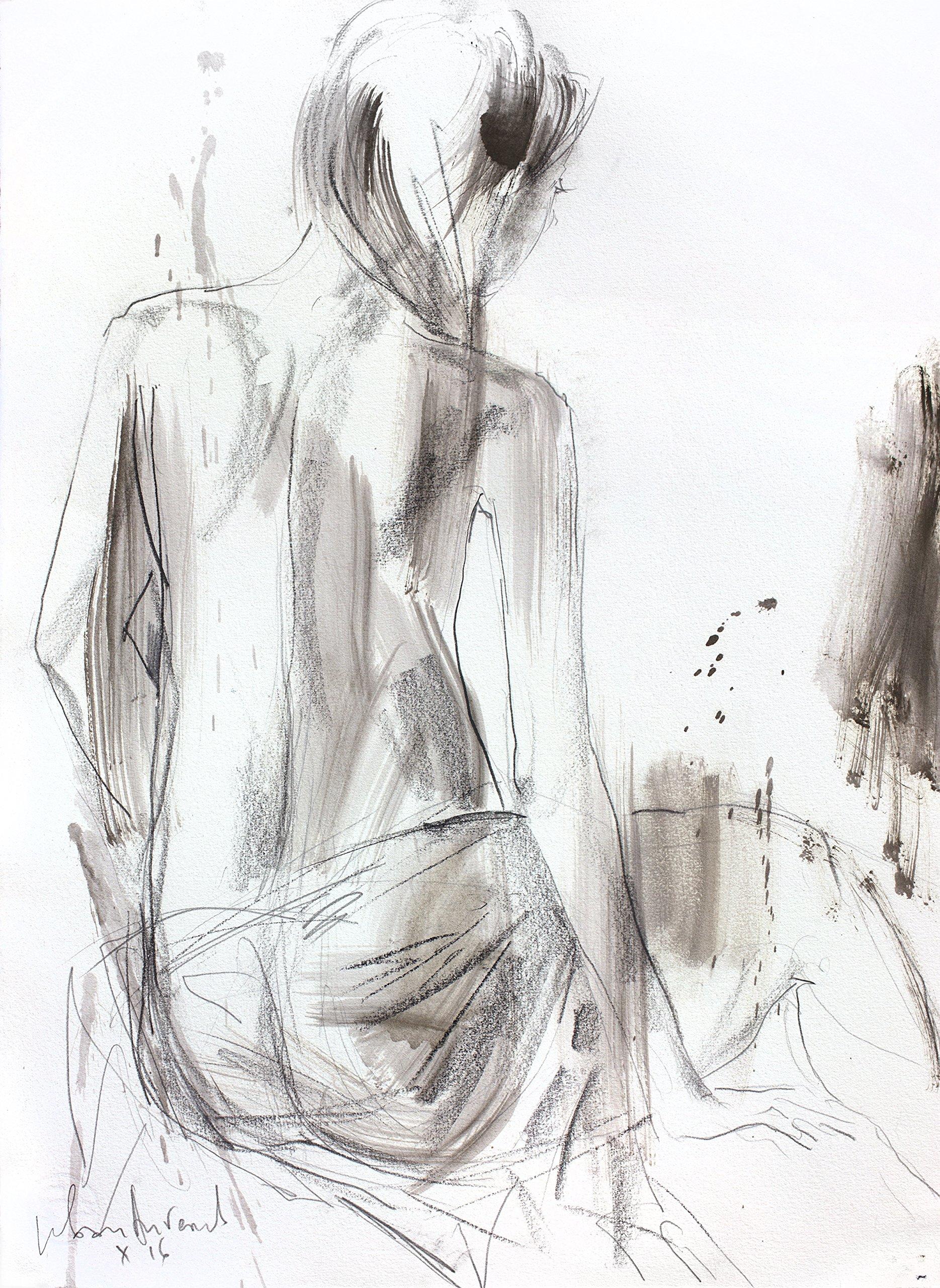 Original charcoal drawing Artistic sketch Nude Modern Figurative art Woman Wall decor