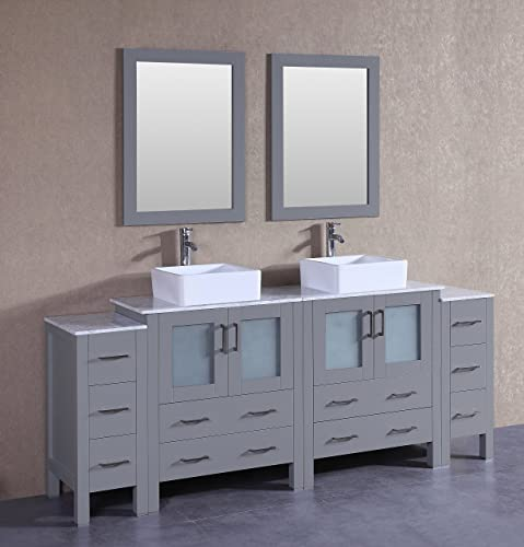 Bosconi AGR230CBECM2S 84 Classic Double Vanity Set with Square Vessel Sinks, Countertops, Mirrors, and 2 Side Cabinets, Gray Carrara Marble