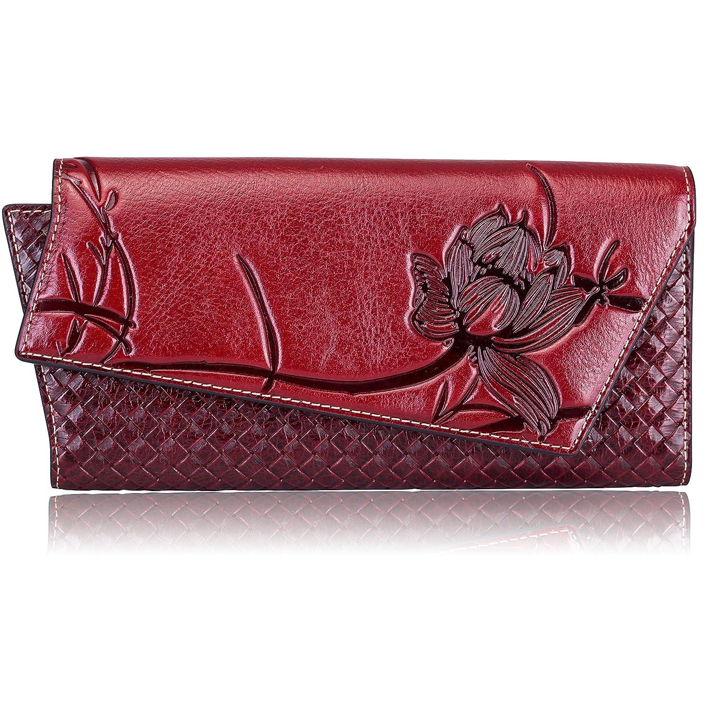 Dark Rednew Naisibao Womens Embossed Floral Wallet Designer Handmade Genuine Leather Zip Around Long Clutch Wristlet Card Holder Purse