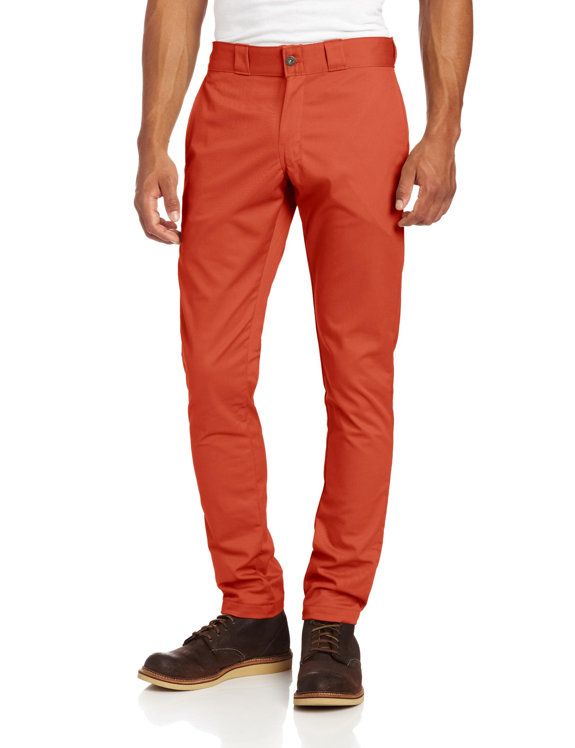 Dickies Men's Skinny Straight Fit Work Pant, Rustic Brick, 30x32