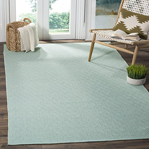 Safavieh Montauk Collection MTK515A Handmade Flatweave Ivory and Aqua Cotton Area Rug 6 x 9