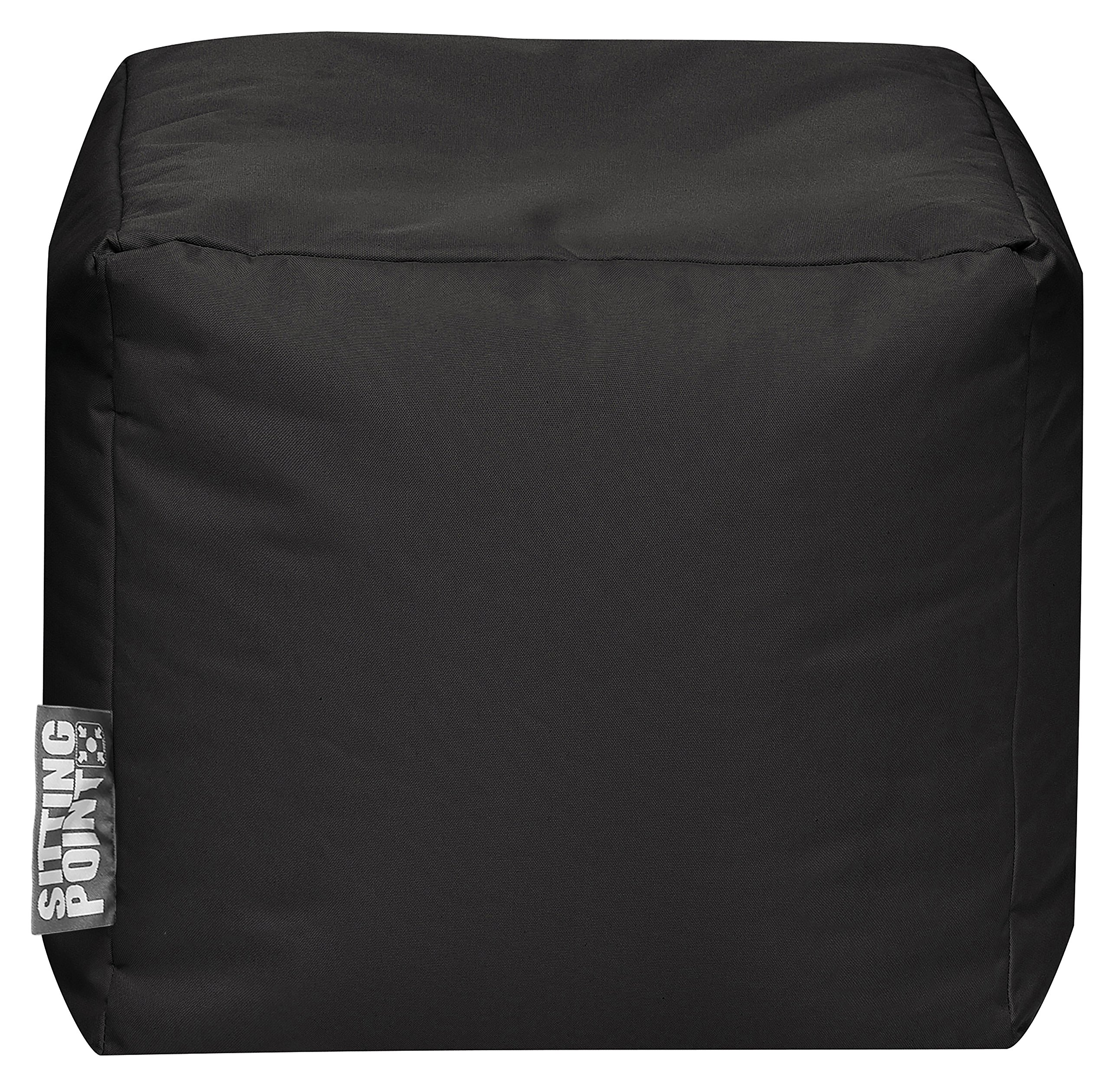 Gouchee Home Brava Cube Collection Contemporary Polyester Upholstered Pouf/Ottoman, Black