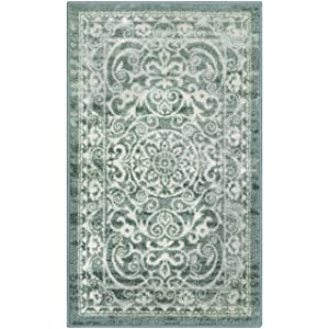 Maples Rugs Kitchen Rug - Pelham Non Skid Small Accent Throw Rugs [Made in USA] for Entryway and Bedroom, Light Spa
