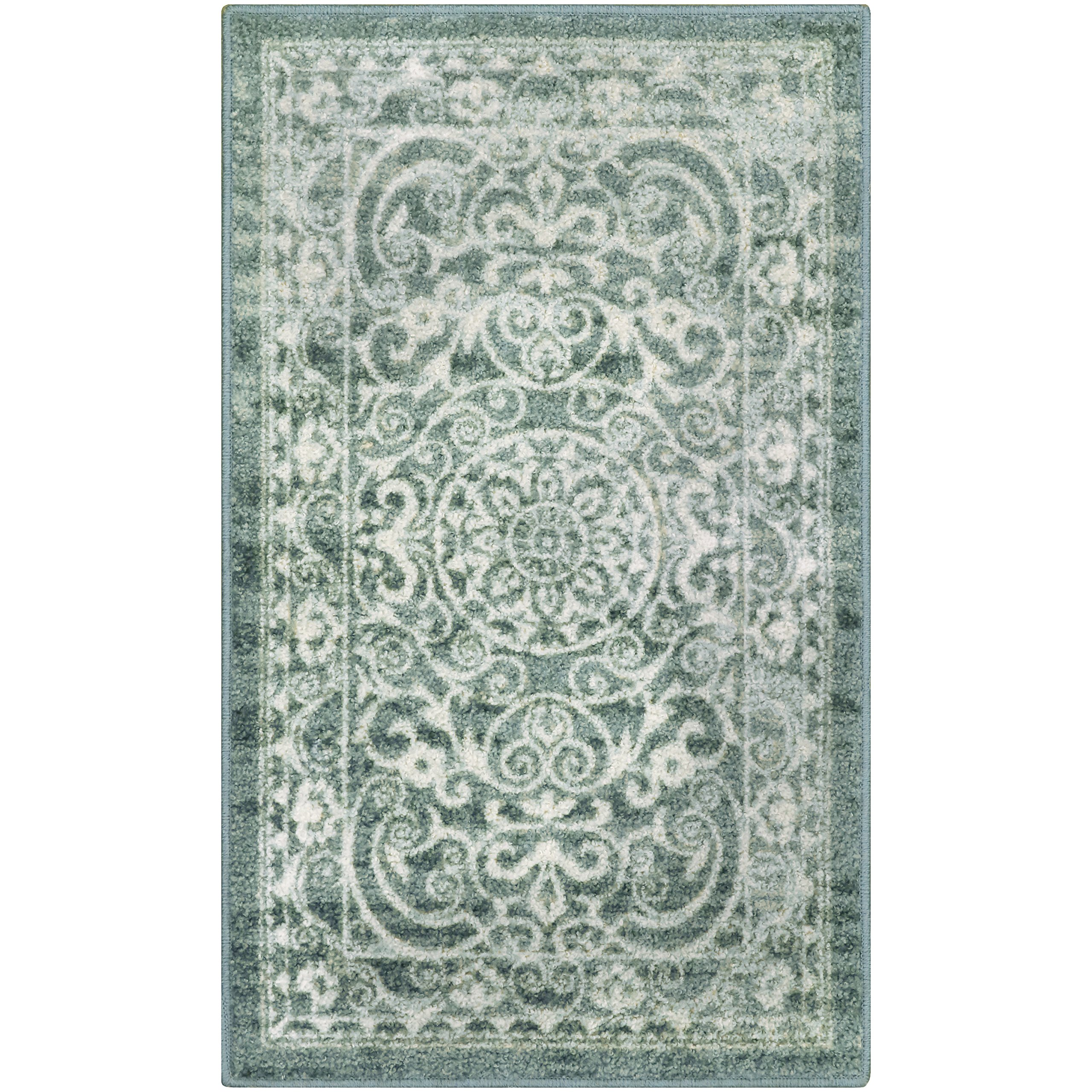 Maples Rugs Kitchen Rug - Pelham 2'6 x 3'10 Non Skid Small Accent Throw Rugs [Made in USA] for Entryway and Bedroom, Light Spa