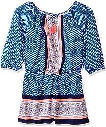 c1dc6cebe7b3 My Michelle Girls  Big Printed Long Sleeve Romper with Tassel Tie