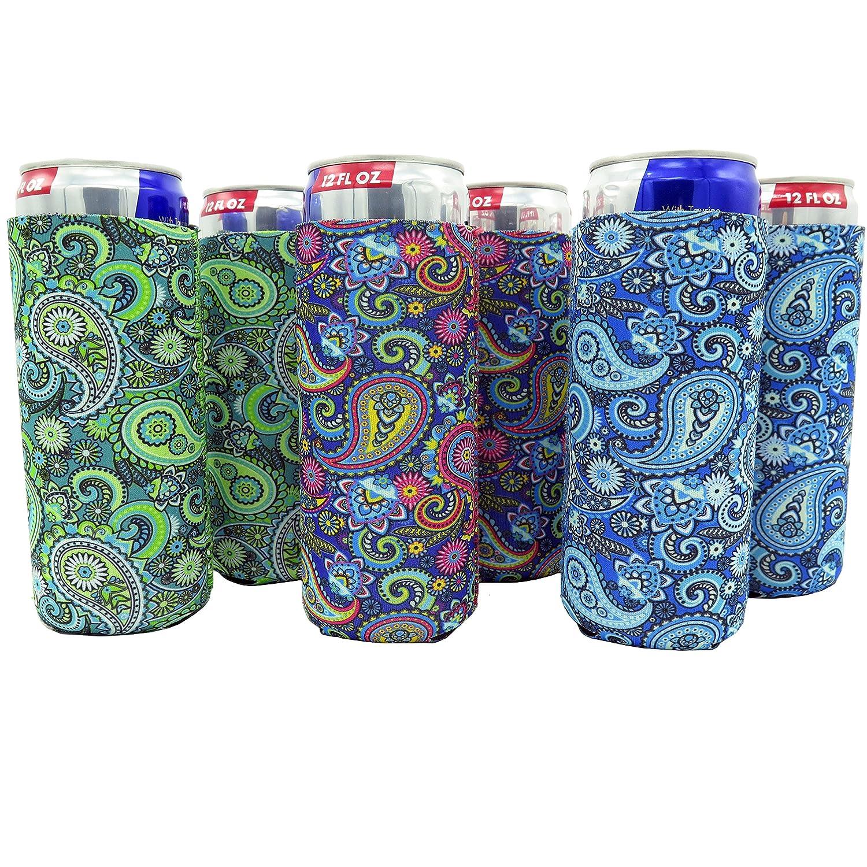 Slim Can Sleeves - Set of 6 Can Neoprene Beverage Coolers (Paisley)