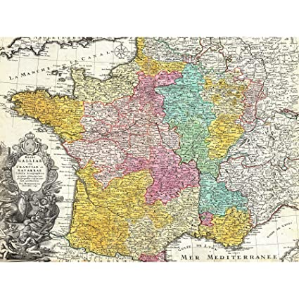 Map Of France To Print.Amazon Com Map Antique Homann Heirs France 30x40 Cms Fine Art Print