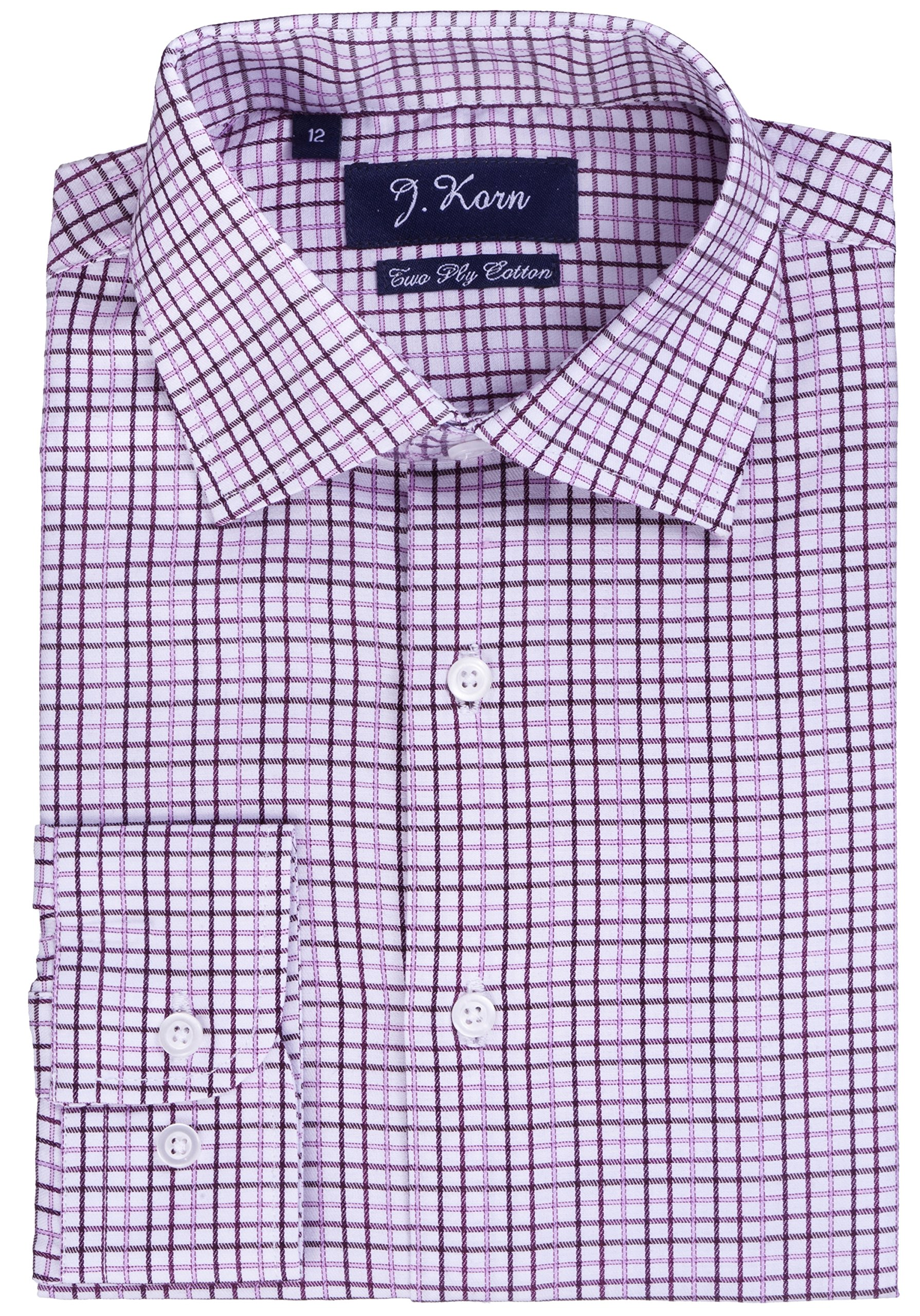 J.Korn Boys Cotton Blend Easy Care Long Sleeve Size 8-20 Dress Shirt FSB13 (20, Lavender Plaid)