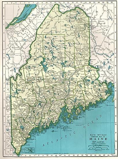 Amazon Com 1945 Antique Maine Map Original Vintage State Map Of