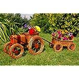 Deko-Shop-Hannusch Tracteur + remorque décoratifs en rotin avec jardinières intégrées