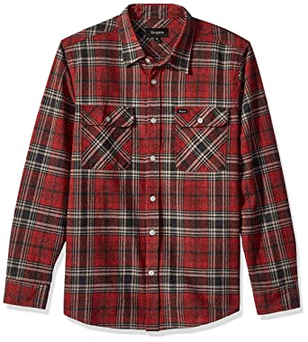 60b7b5c8607e Brixton Men's Bowery Long Sleeve Standard Fit Flannel Shirt: Amazon.co.uk:  Clothing