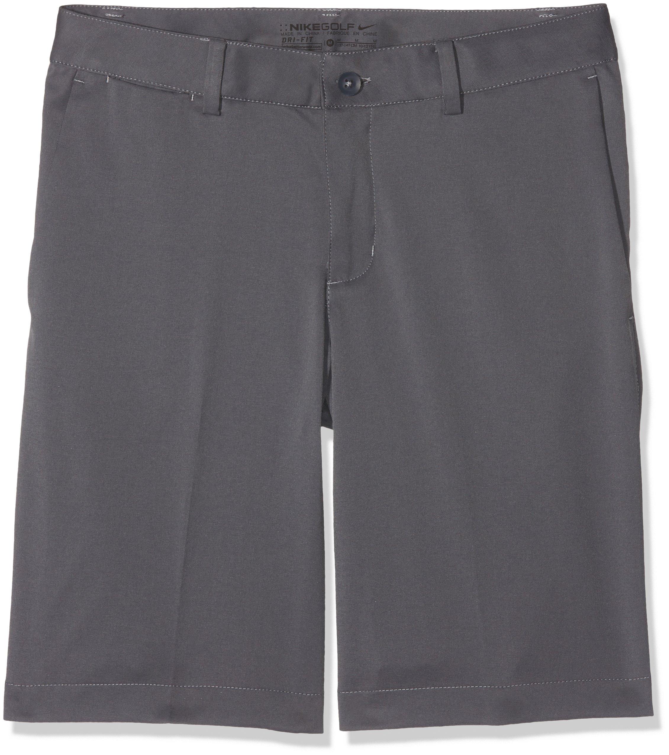 Nike Boys Flat Front Short (MD (10-12 Big Kids), Dark Gray/Dark Gray)
