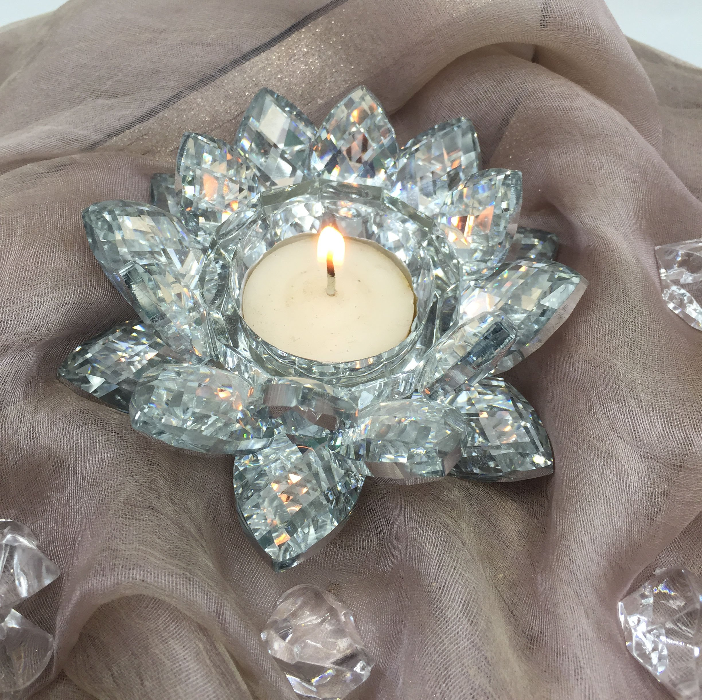 SunRise 4.5 inch Centerpieces Crystal Lotus Candle Holder Collectible Figurine Crystal (Silver) by SunRise (Image #2)