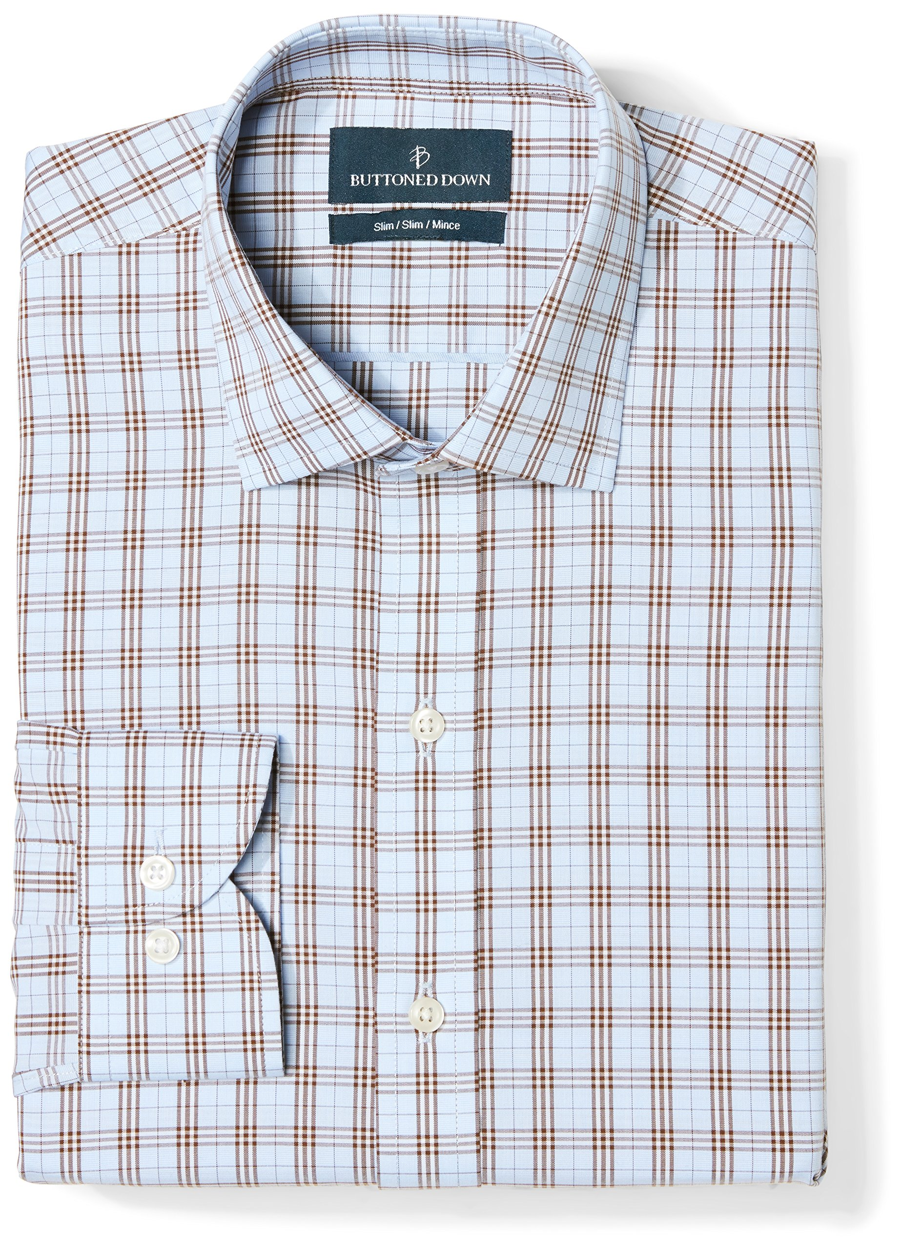 Buttoned Down Men's Slim Fit Spread Collar Pattern, Blue/Brown Plaid, 16'' Neck 33'' Sleeve