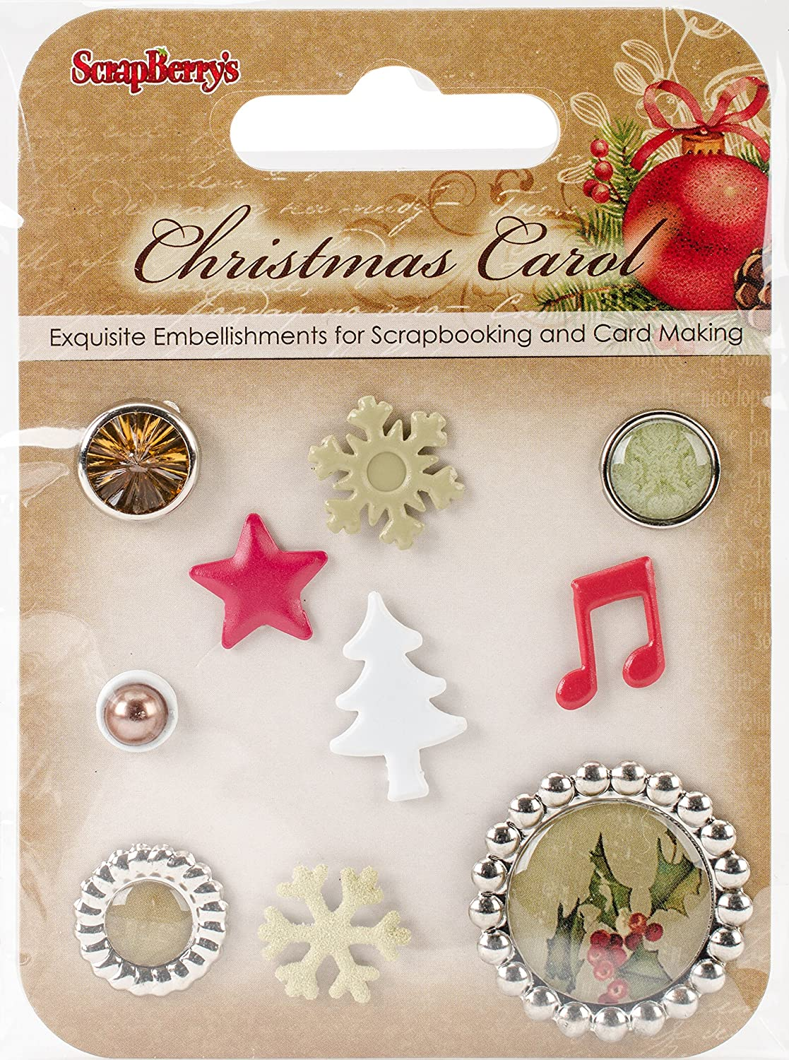 ScrapBerry's Assorted Christmas Carol Decorative Brads 10/Pkg ScrapBerry's SCB340981