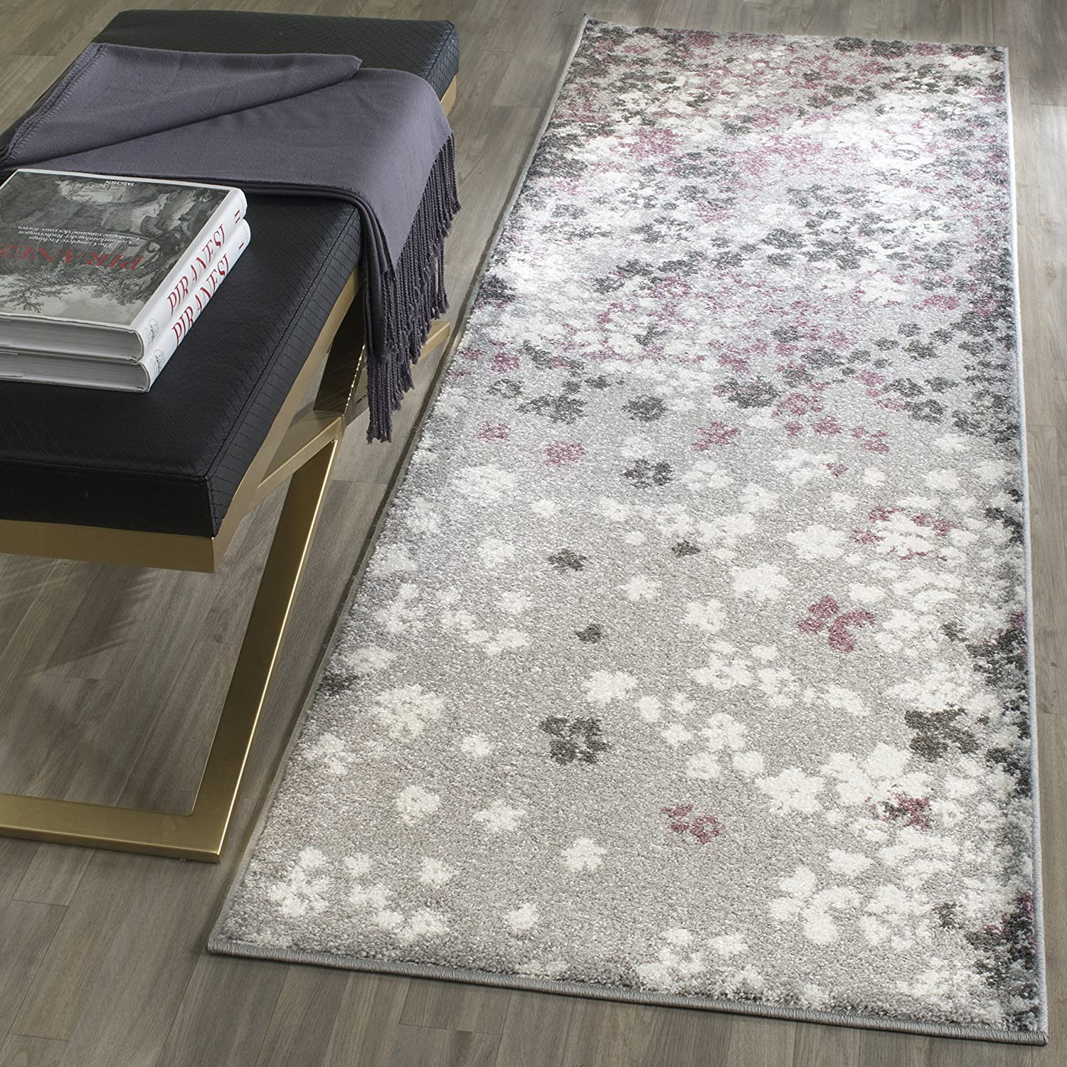 "Safavieh Adirondack Collection ADR115M Light Grey and Purple Contemporary Floral Runner (2'6"" x 8')"