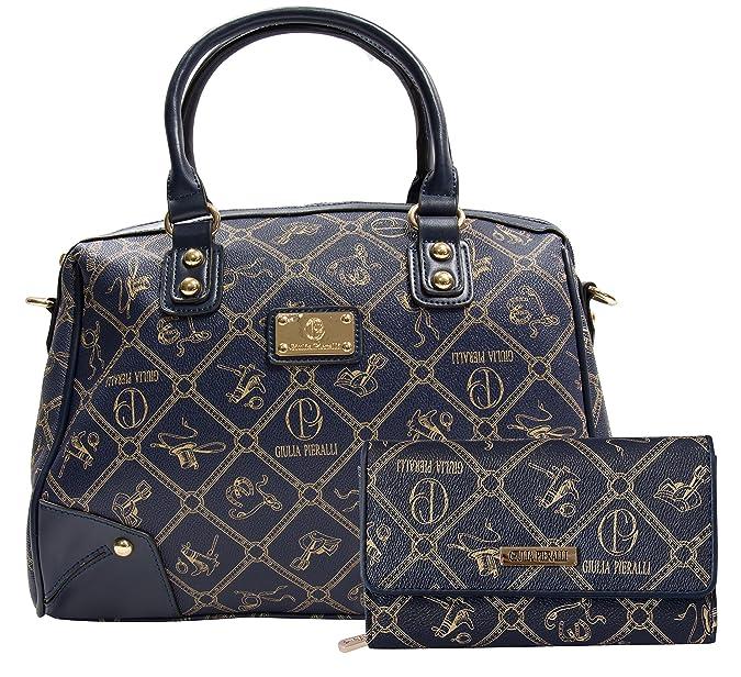 90f6f7c7d2959 Giulia Pieralli Damentaschen + Geldbörse als SET Handtaschen Damen  Handtasche Geldbörse Tasche Henkeltasche Markentasche Blau 2622B + G001   Amazon.de  ...