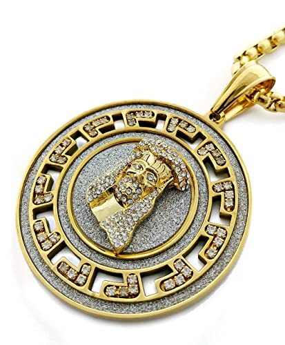 jesus pendant franco necklace hip piece gold hop out chain iced finish cz mens