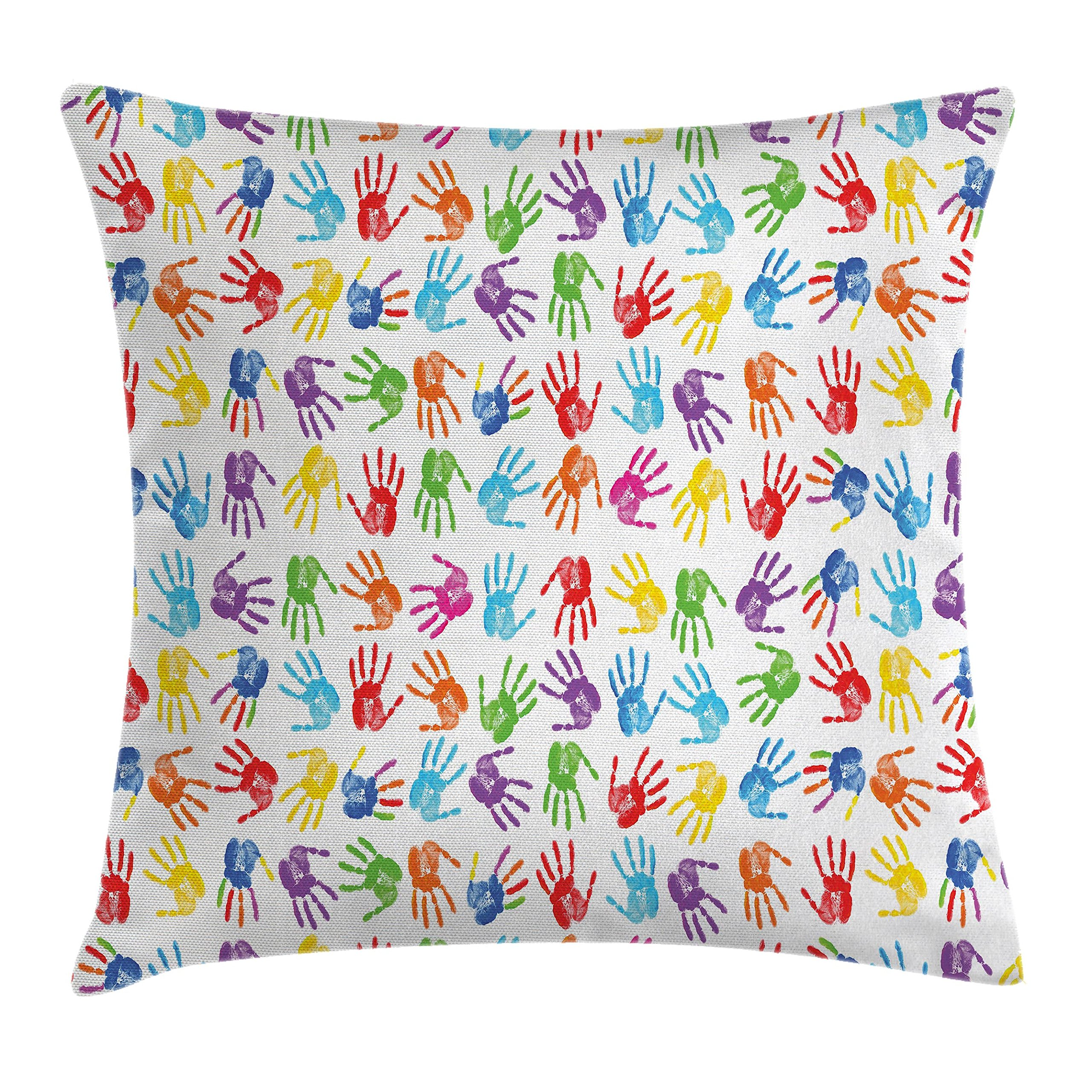 Ambesonne Colorful Decor Throw Pillow Cushion Cover, Human Handprint Kids Watercolor Paint Effect Open Palms Collage Art Work Print, Decorative Square Accent Pillow Case, 20 X 20 Inches, Multi