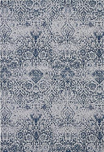 Nourison Damask Dark Blue and White Vintage Area Rug 6 x 9 , 6 X9 , IVORY NAVY