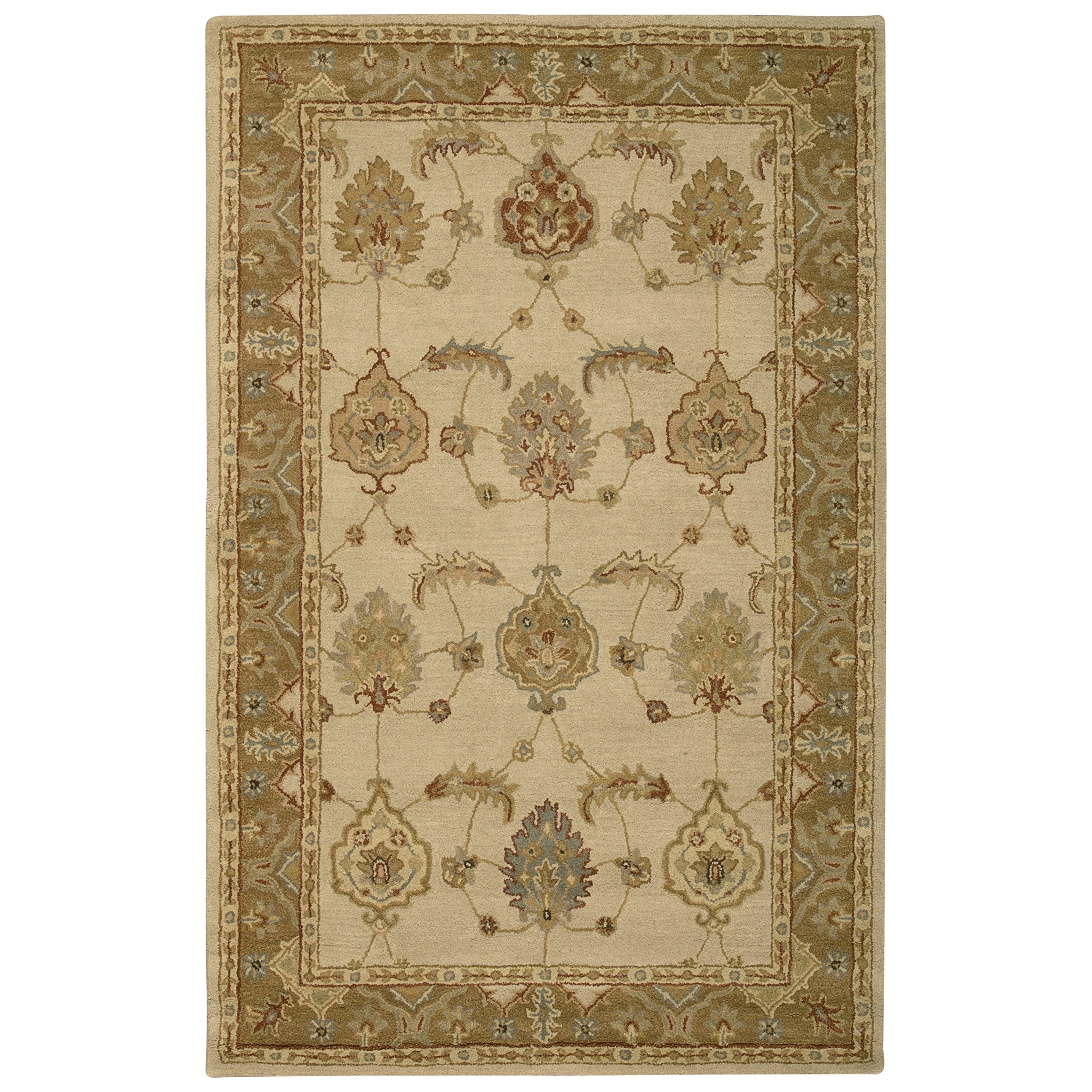 Nourison India House (IH87) Ivory/Gold Rectangle Area Rug, 5-Feet by 8-Feet  (5' x 8')