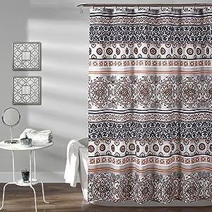 "Lush Decor Nesco Stripe Shower Curtain, 72"" x 72"", Navy & Coral"