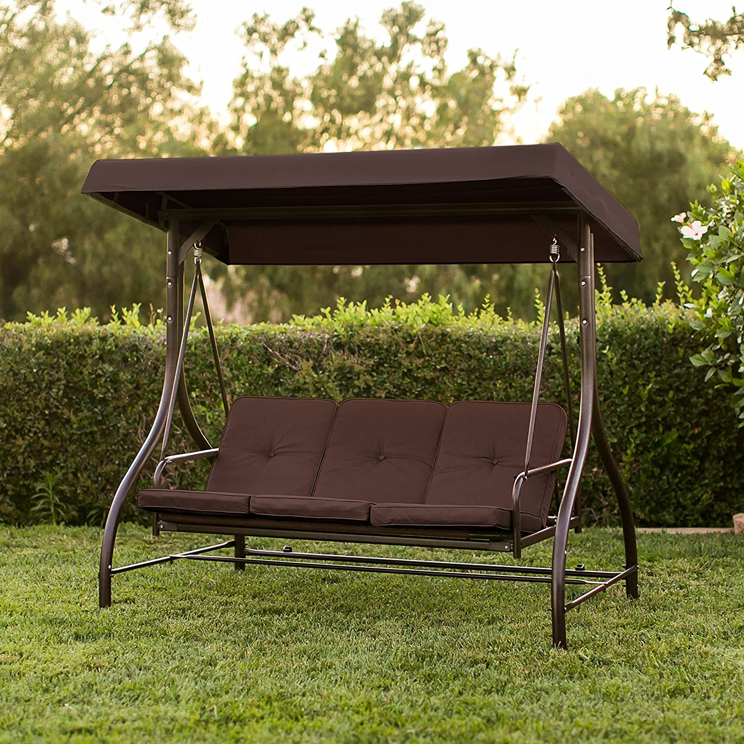 Amazon.com : Best Convertible Patio Swing Chair For 3 Person With ...