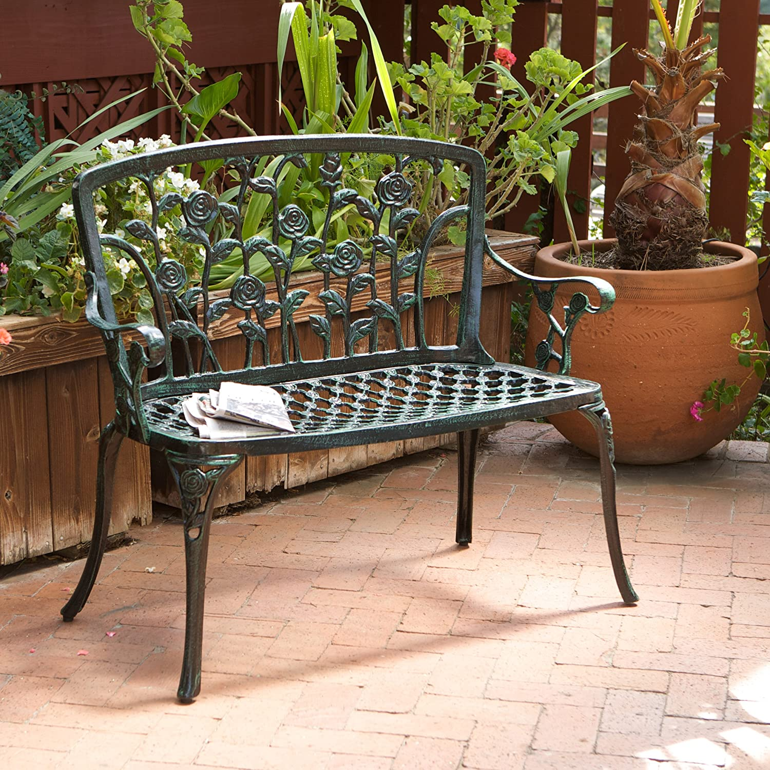 Amazon.com: Best Selling Saint Kitts Cast Aluminum Bench, Green Finish:  Kitchen U0026 Dining