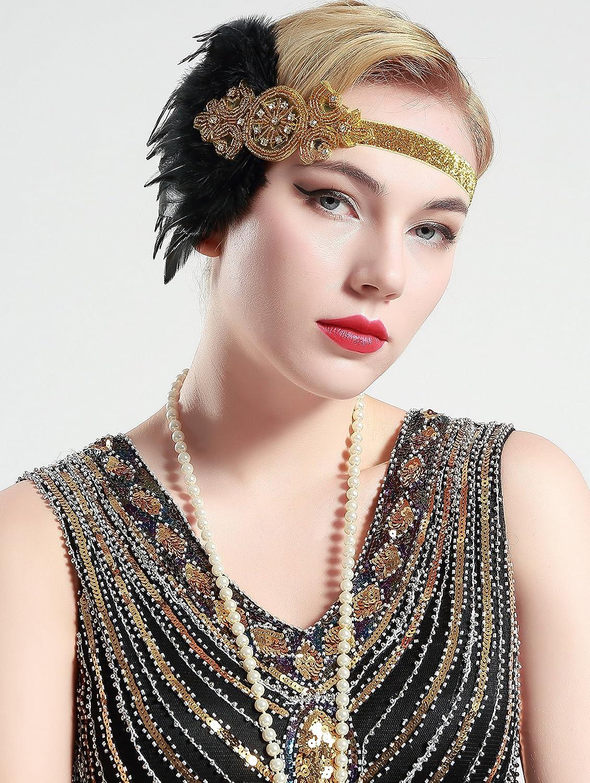 ArtiDeco 1920s Stirnband Damen Gatsby Kost/üm Accessoires 20er Jahre Flapper Feder Haarband
