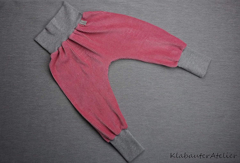 Pumphose Handmade Babyhose Cord Rosa Grau M/ädchen 50//56,62//68,74//80,86//92