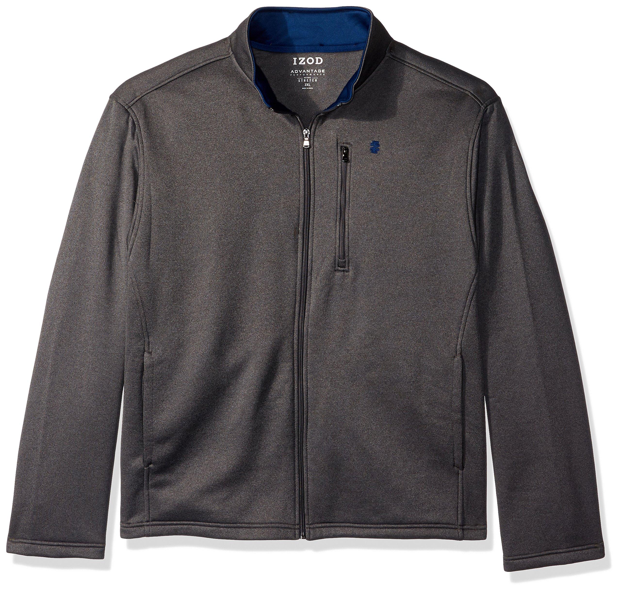 IZOD Men's Big and Tall Spectator Solid Fleece Jacket, Asphalt Heather, 4X-Large Big