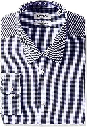 Calvin Klein Camisa a Cuadros de Ajuste Ajustado, no Necesita Planchado, para Hombre - Morado - 44 cm Cuello 86 cm- 89 cm Manga: Amazon.es: Ropa y accesorios