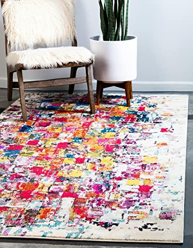 Unique Loom Estrella Collection Colorful Abstract Multi Area Rug 7' 0 x 10' 0