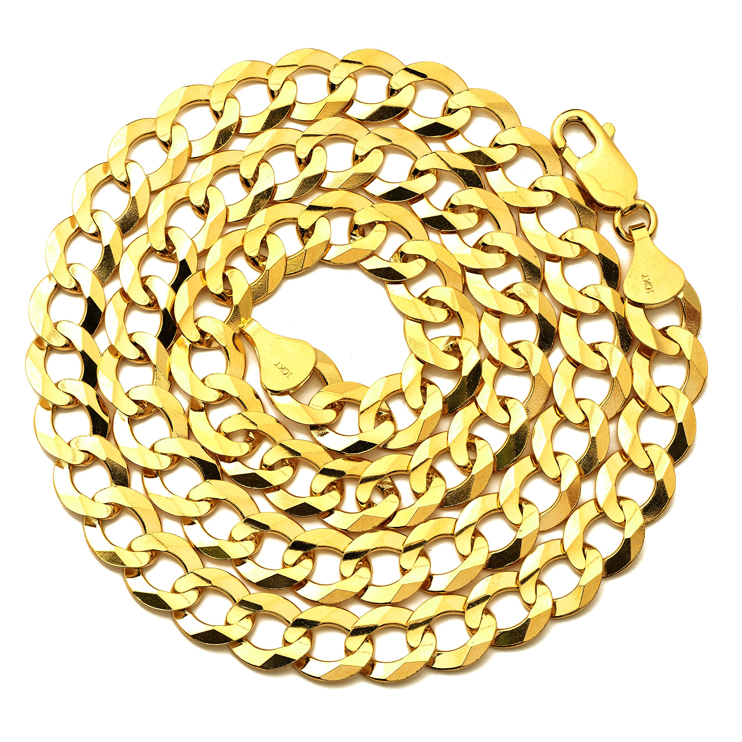 LoveBling 10k Yellow Gold 9.5mm Plain Solid Curb Cuban Necklace W/ Lobster Lock ( 20'')