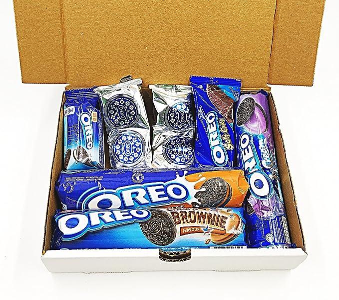 OREO MISTERY BOX con solo productos OREO mantequilla de maní, fresa cheesecake, mini choc blanco, leche choc, ENVASADO SURTIDO SWEET SNACK IDEAS GIFT blanco ...