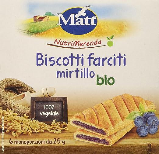 5 opinioni per Matt Nutrimerenda Biscotti Farciti Mirtillo Bio- 1 Confezione da 6 Monoporzioni