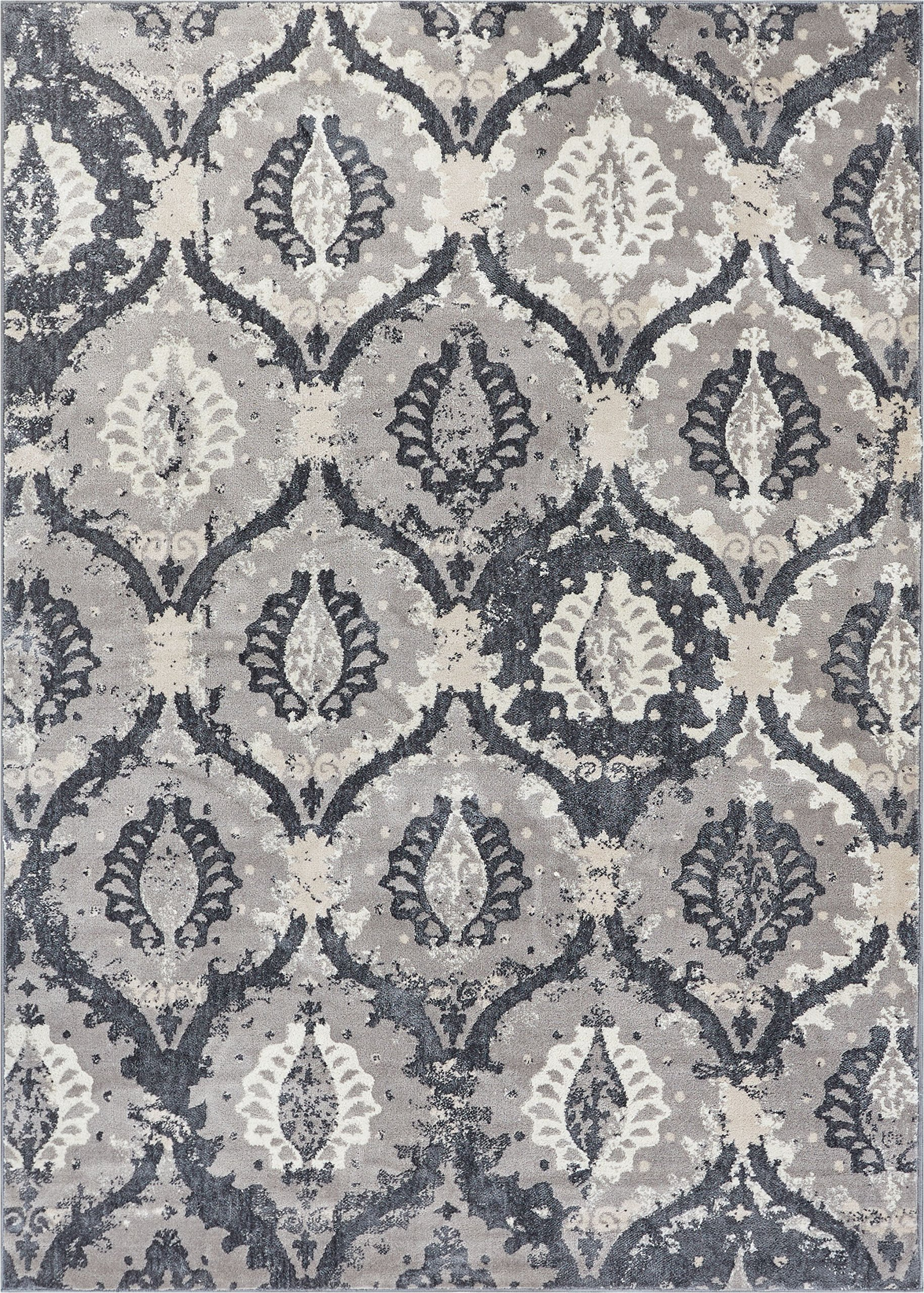 Well Woven Allegro Grey Microfiber High-Low Pile Vintage Abstract Erased 9x13 (9'3'' x 12'6'') Area Rug Modern Ogee Panel Floral Oriental Carpet